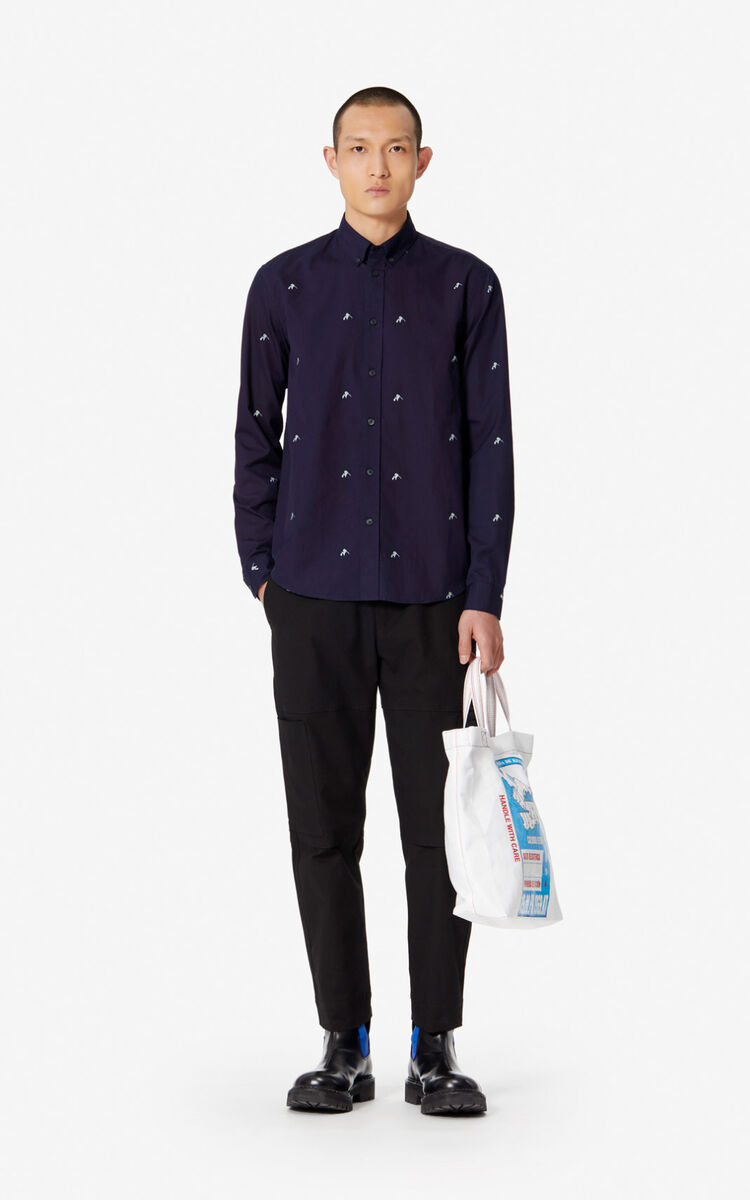 MIDNIGHT BLUE 'Mountains' casual shirt for men KENZO