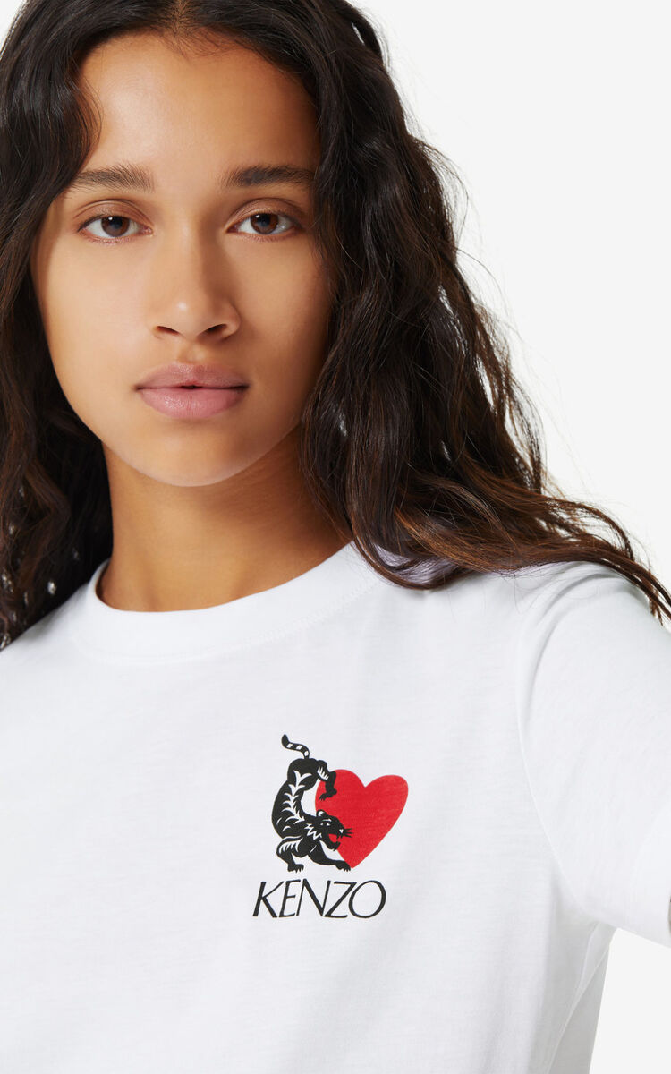 WHITE 'Lucky Tiger' T-shirt for women KENZO