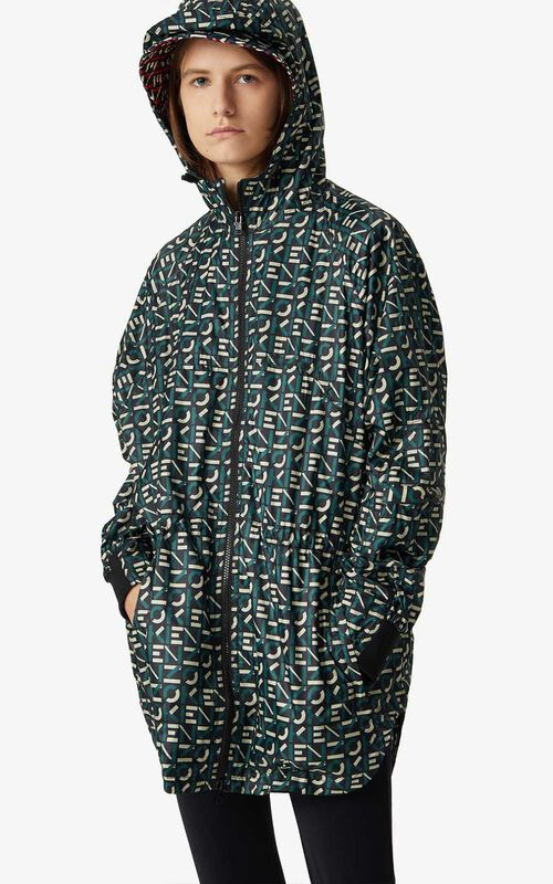 GREEN KENZO Sport monogrammed hooded anorak for men