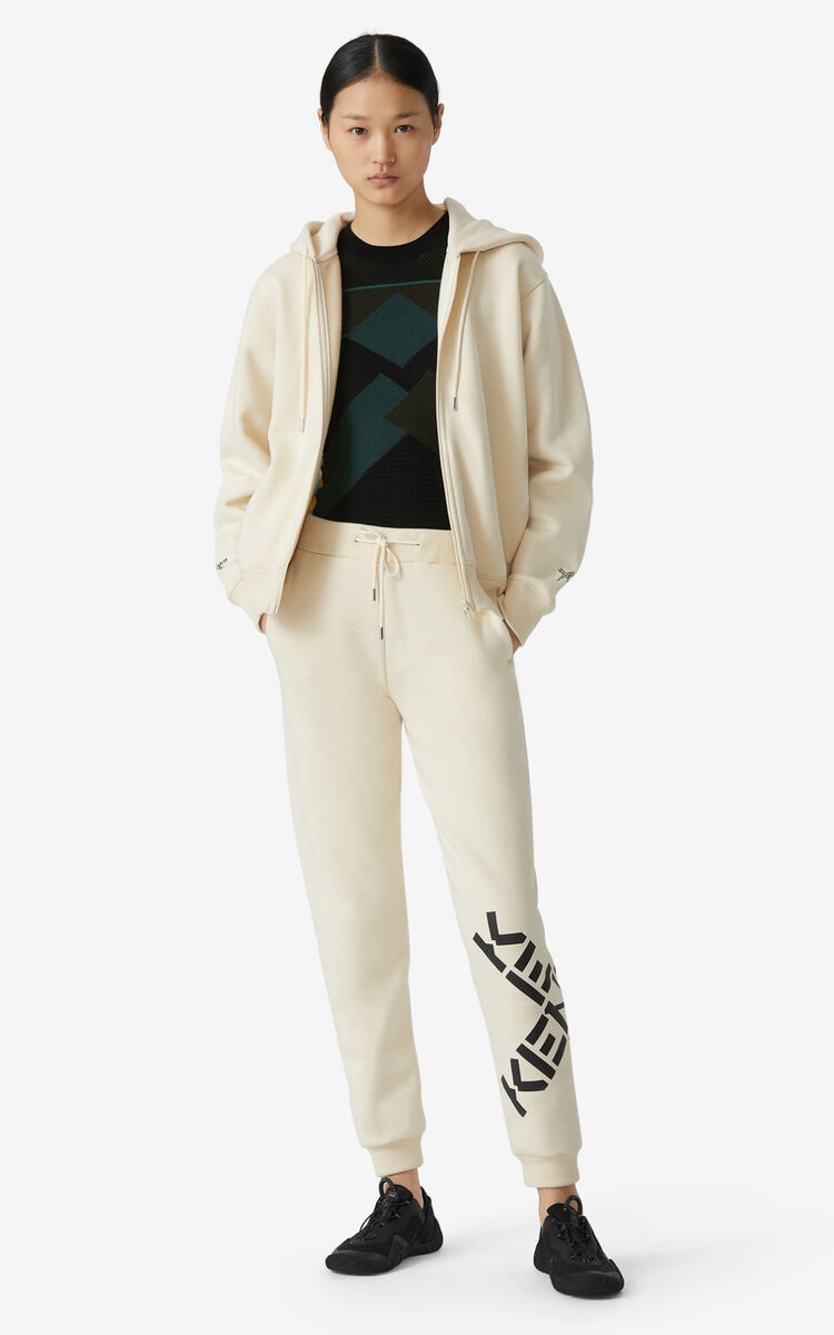 CREAM KENZO Sport 'Big X' jogging trousers for men