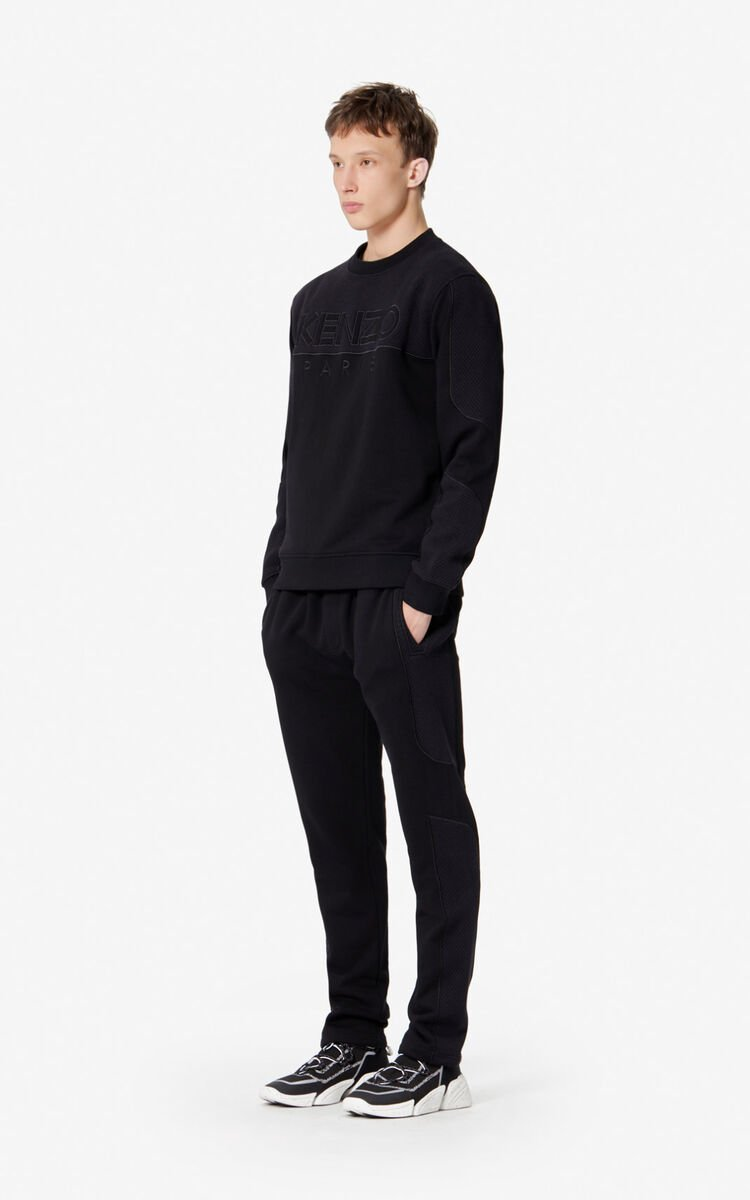 BLACK Dual-fabric jogging trousers for men KENZO