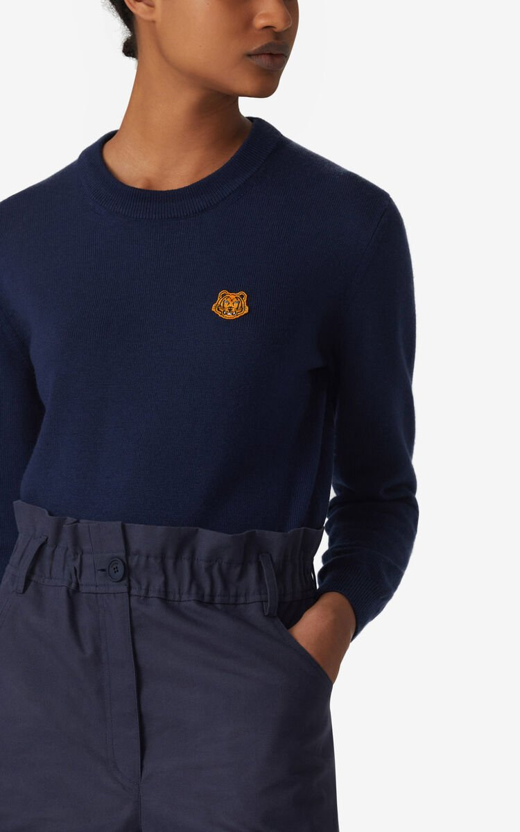 NAVY BLUE Tiger Crest jumper  for women KENZO