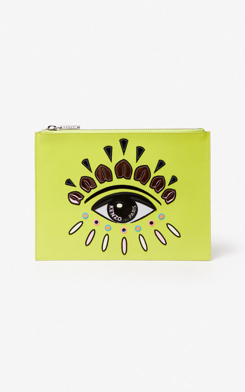 LEMON A4 Eye leather clutch for unisex KENZO