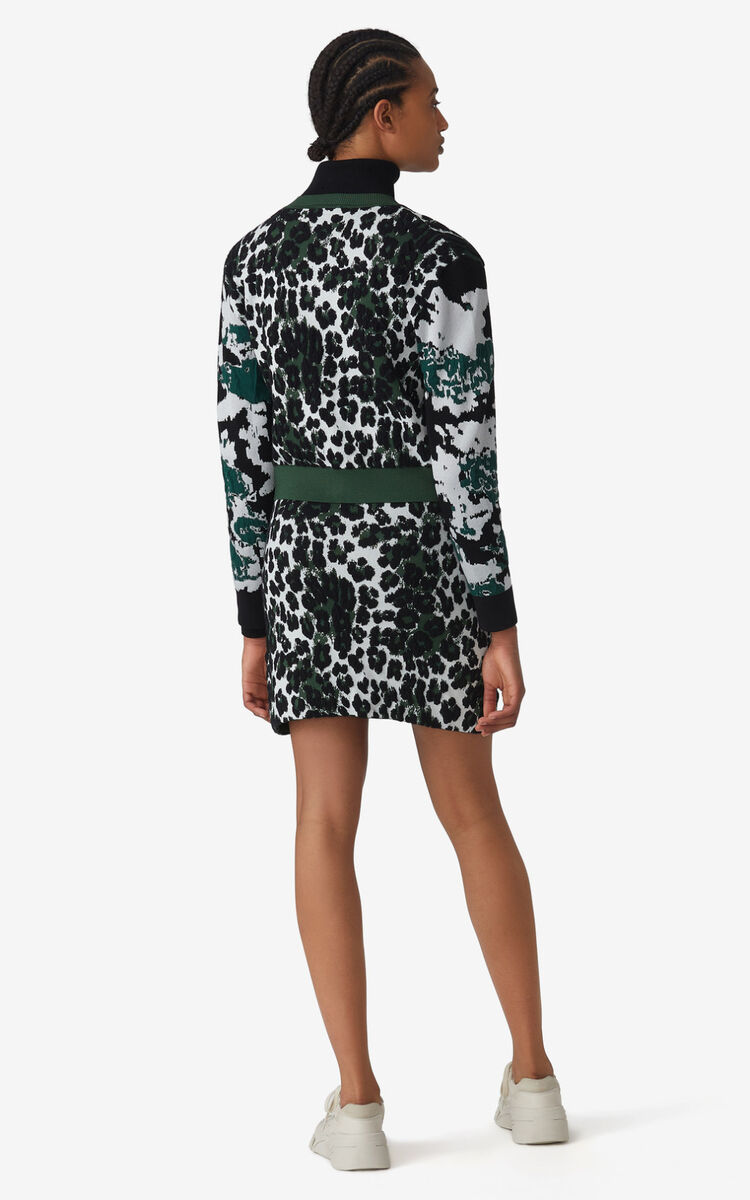 BOTTLE GREEN 'Leopard' jacquard cardigan for women KENZO