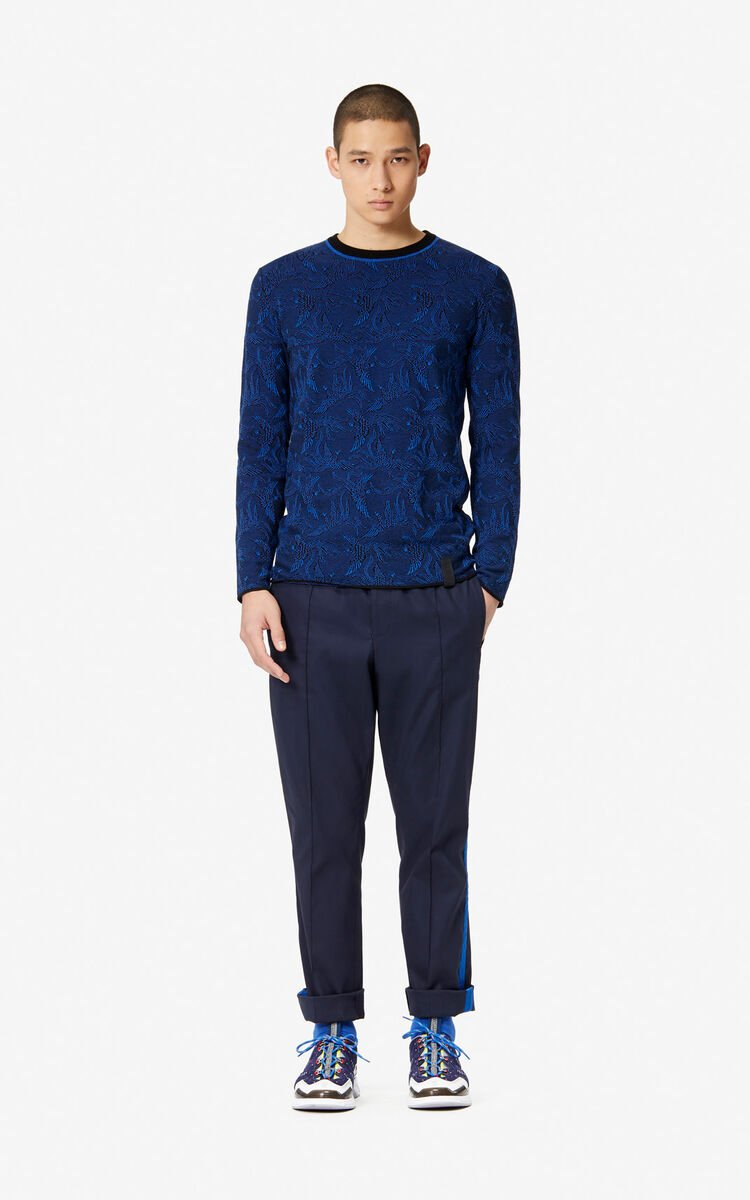 NAVY BLUE Jacquard 'Flying Phoenix' jumper for men KENZO