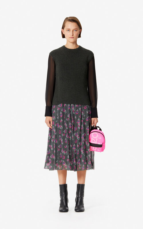 DARK KHAKI Pleated 'Passion Flower' skirt for women KENZO