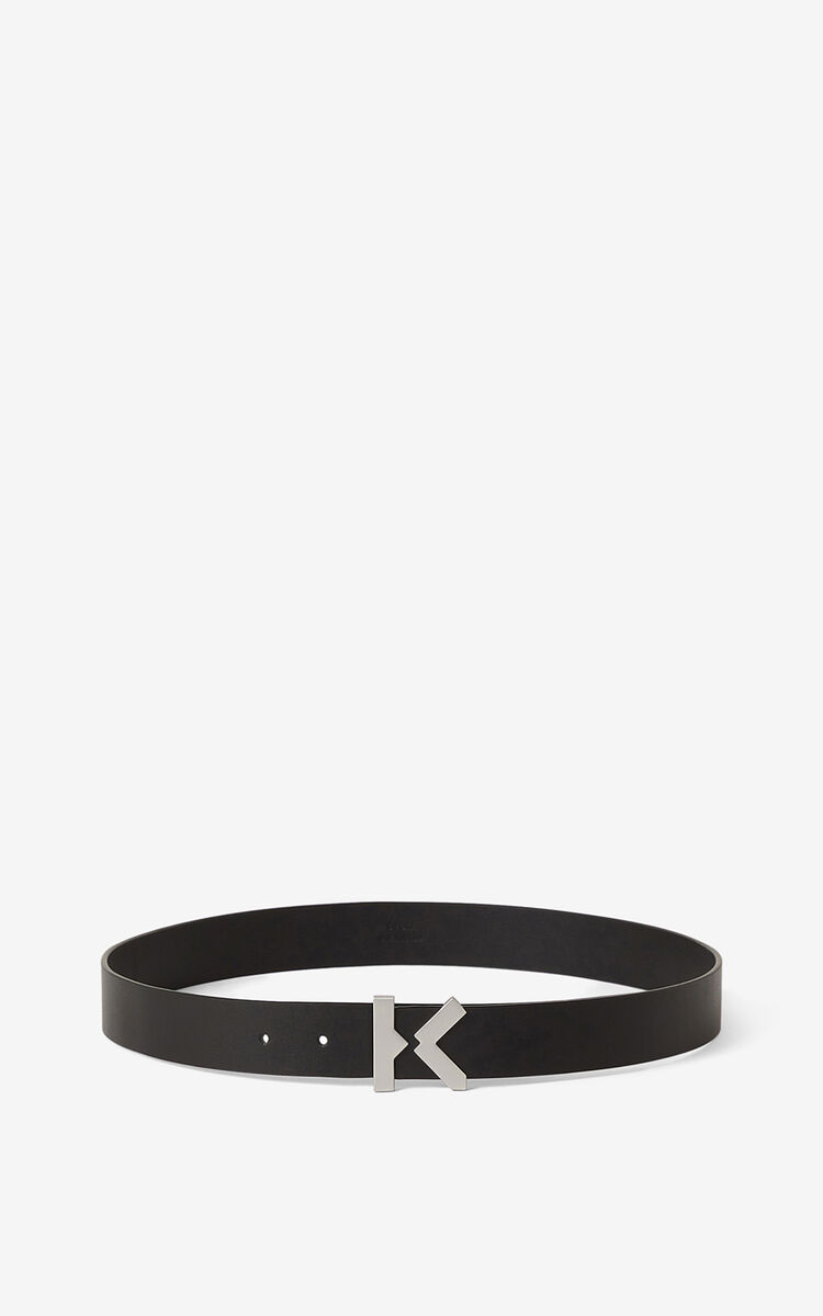 BLACK KENZO K wide leather belt for unisex