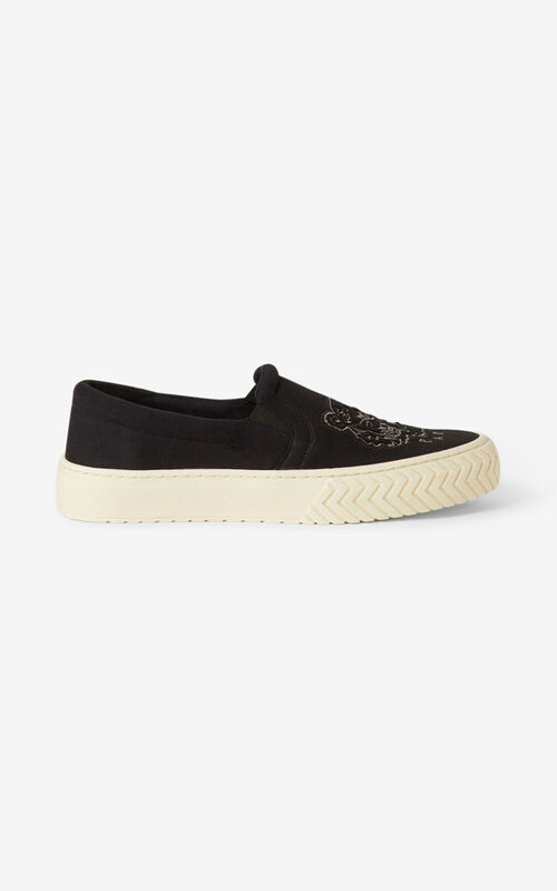 BLACK K-Skate Tiger laceless canvas trainers for women KENZO