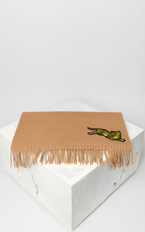 DARK CAMEL 'Jumping Tiger' wool scarf for unisex KENZO