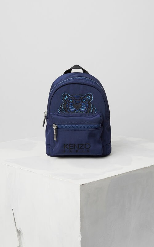 NAVY BLUE Mini Tiger Canvas Backpack for men KENZO