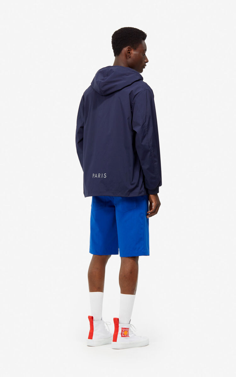 MIDNIGHT BLUE KENZO Logo windbreaker for men