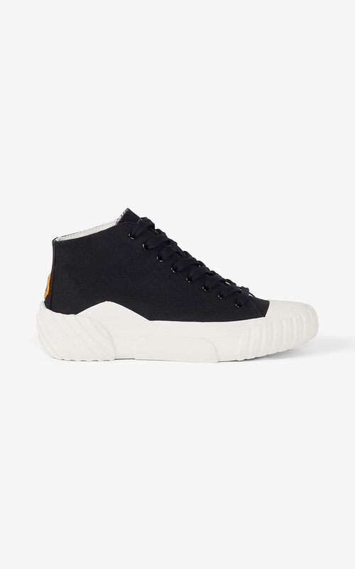 BLACK Canvas Tiger Crest high-top trainers for unisex KENZO