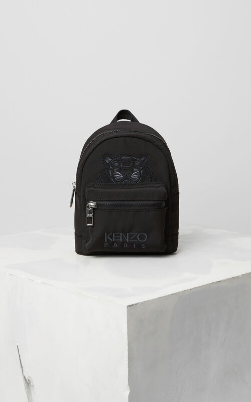 Mini Tiger Canvas Backpack, BLACK, KENZO