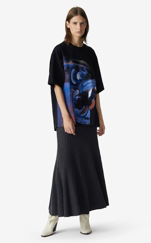 BLACK T-shirt with Júlio Pomar illustration for women KENZO