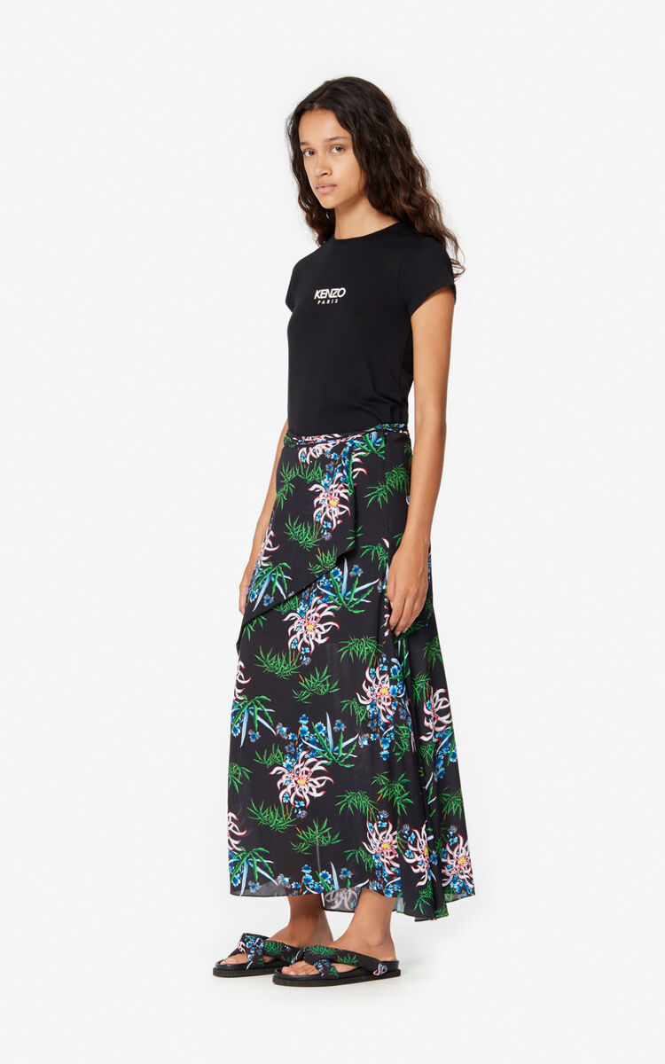 BLACK Sea Lily' maxi skirt for women KENZO