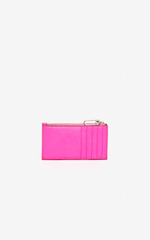 DEEP FUSCHIA KENZO Logo leather card holder for women