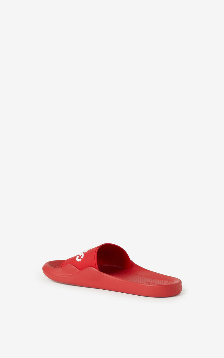 MEDIUM RED KENZO Logo Pool flip flops for women