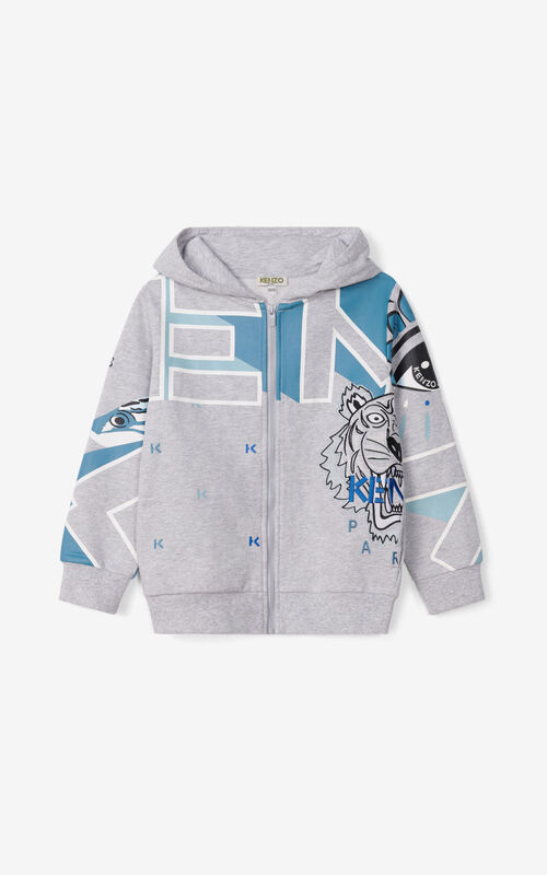 PEARL GREY Hoodie with snap closure for women KENZO