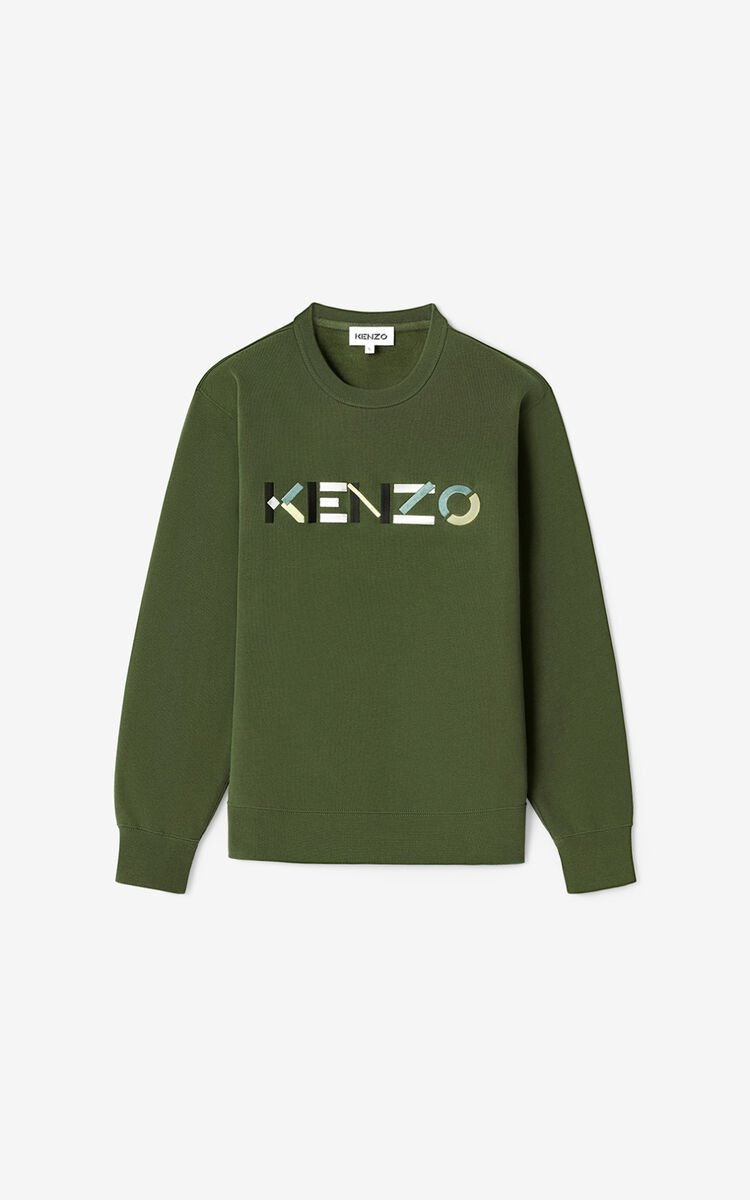 DARK KHAKI KENZO Logo sweatshirt for men