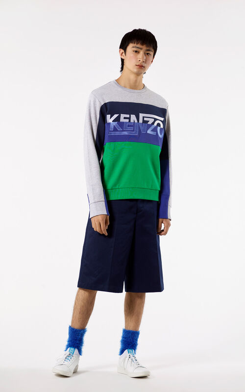 NAVY BLUE Long pleated bermuda shorts for men KENZO