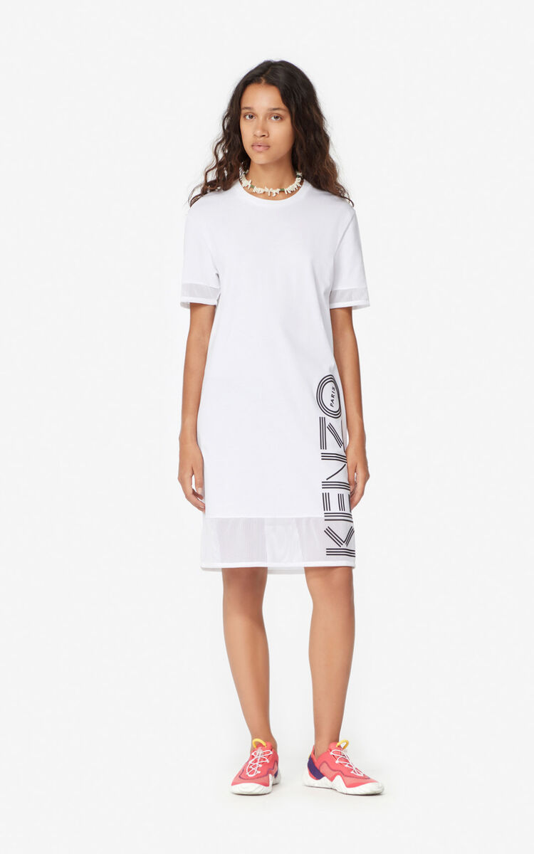 WHITE Dual-material KENZO Logo dress for women