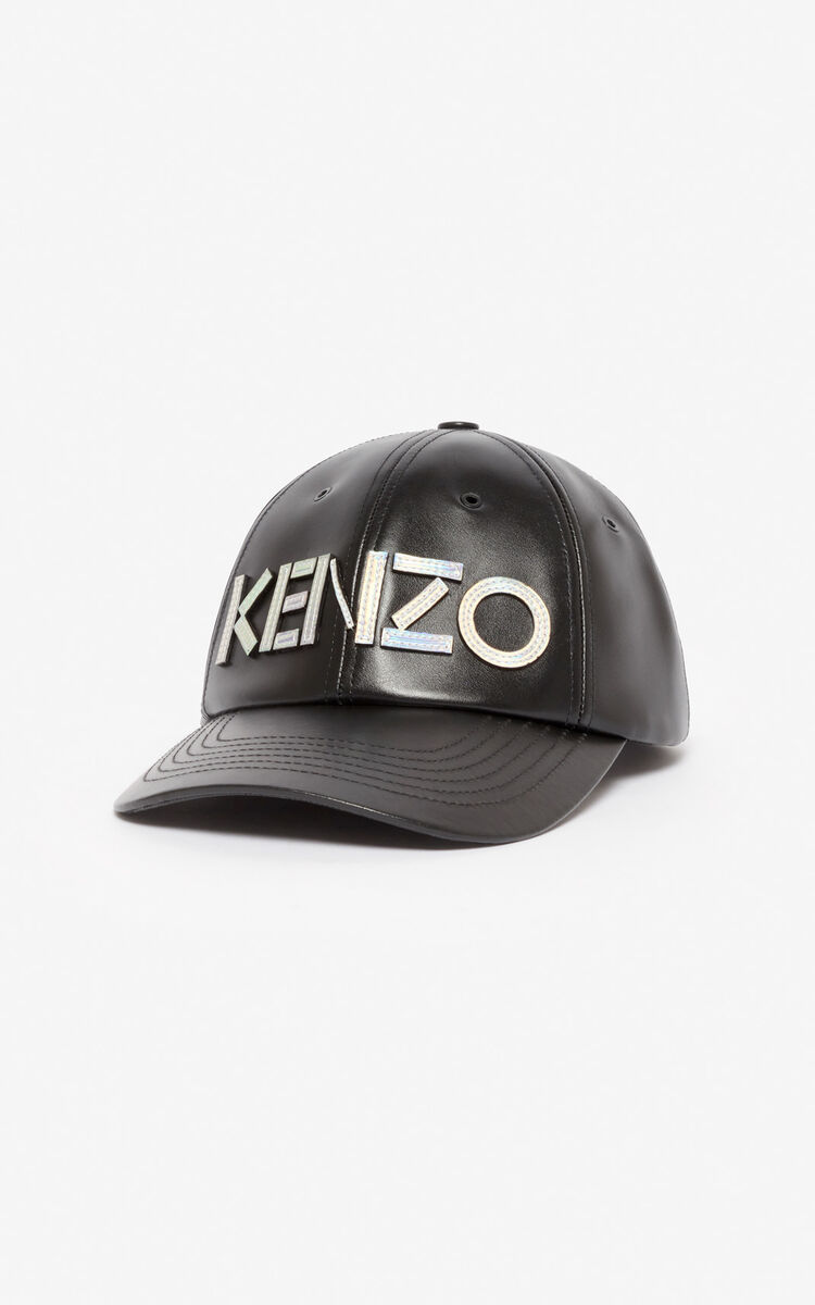 BLACK 'Holiday Capsule' KENZO Kontrast leather baseball cap for men