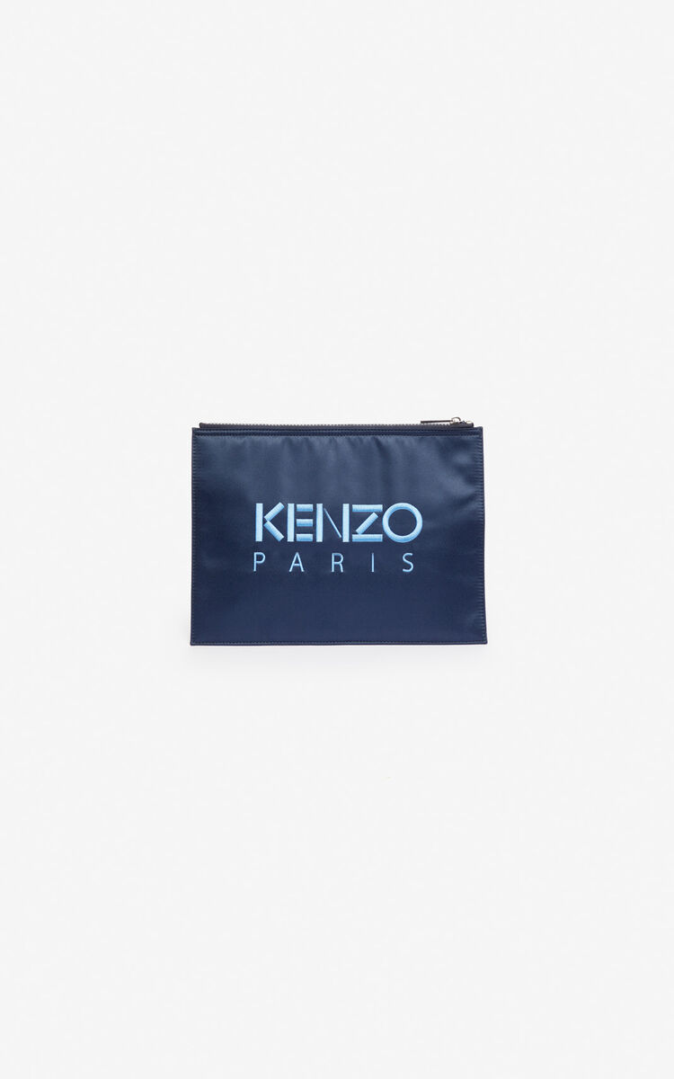 MIDNIGHT BLUE Satin A4 clutch 'Holiday Capsule' for women KENZO