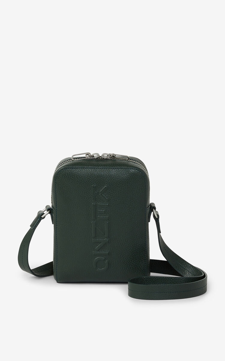 FERN KENZO Imprint grained leather shoulder bag for men