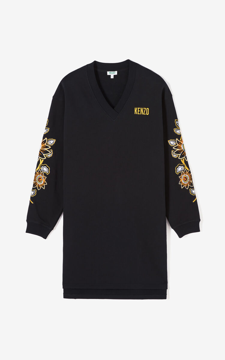 BLACK 'Passion Flower' sweatshirt dress for women KENZO