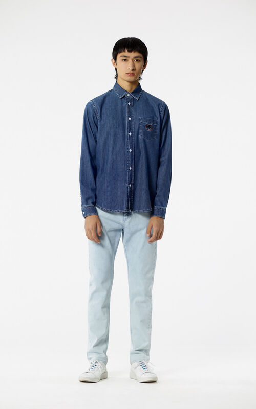 LIGHT BLUE Tapered Bleach Jeans for men KENZO