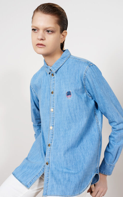 Denim Tiger Shirt, BLUE, KENZO