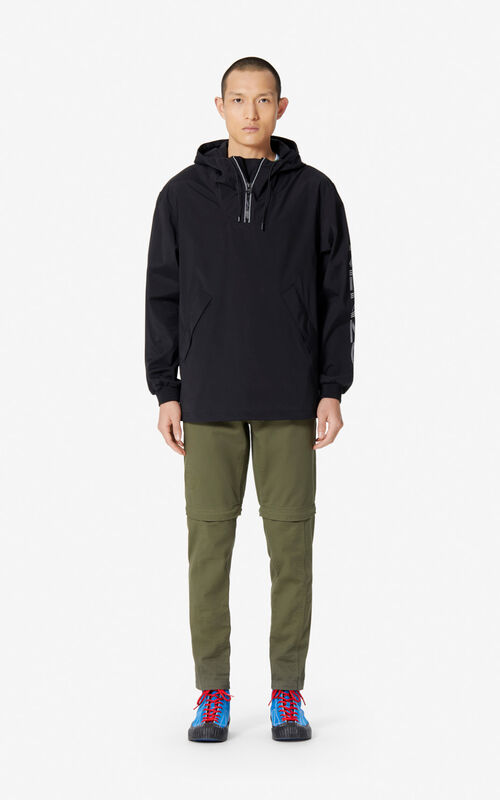 BLACK KENZO Logo windbreaker for men