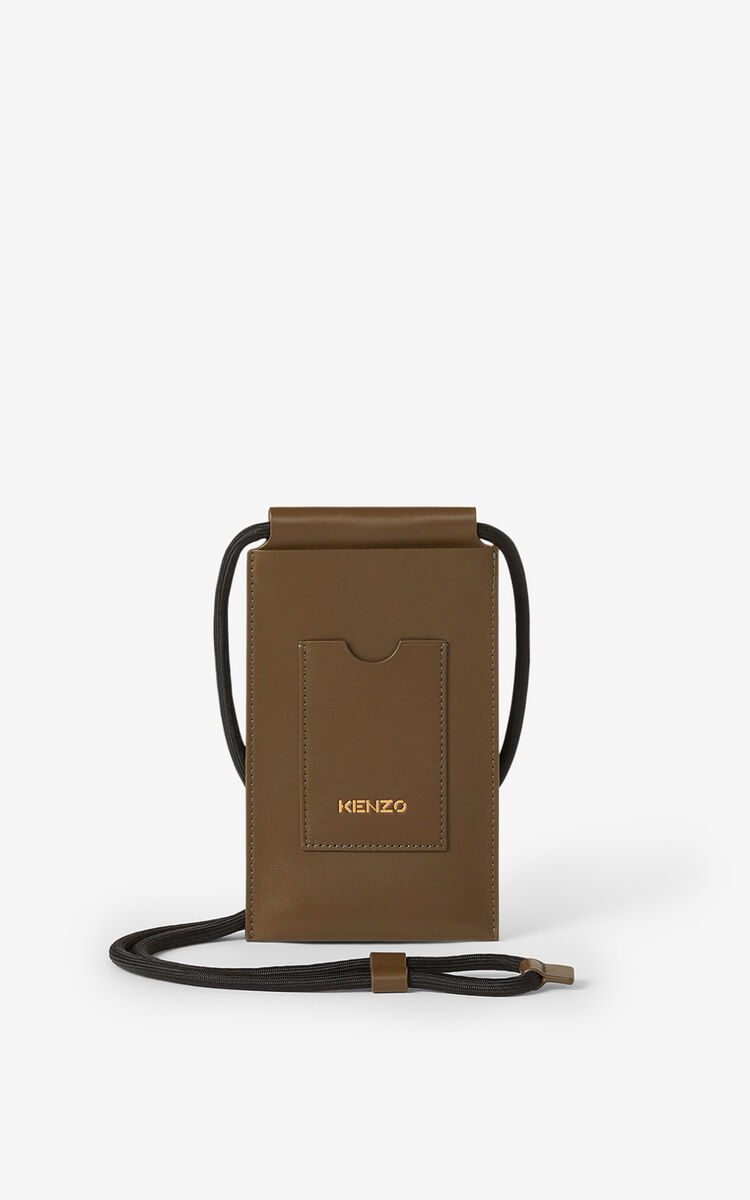 KHAKI KENZO Cadet crossbody leather phone holder for unisex
