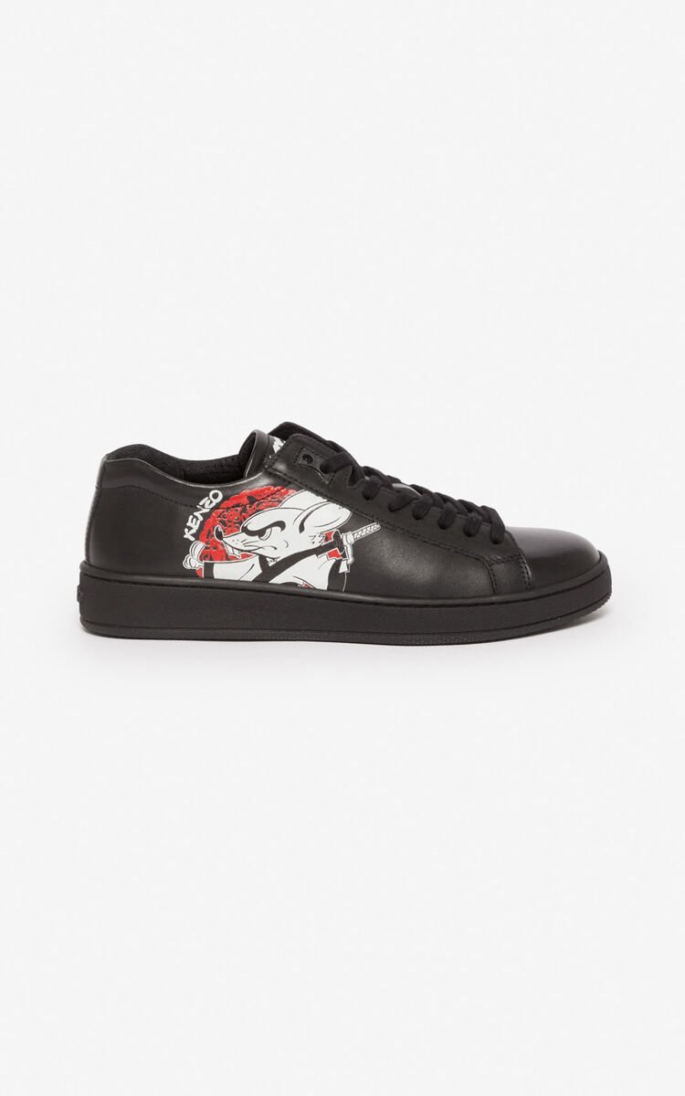 BLACK 'Kung Fu Rat' Tennix trainers for women KENZO