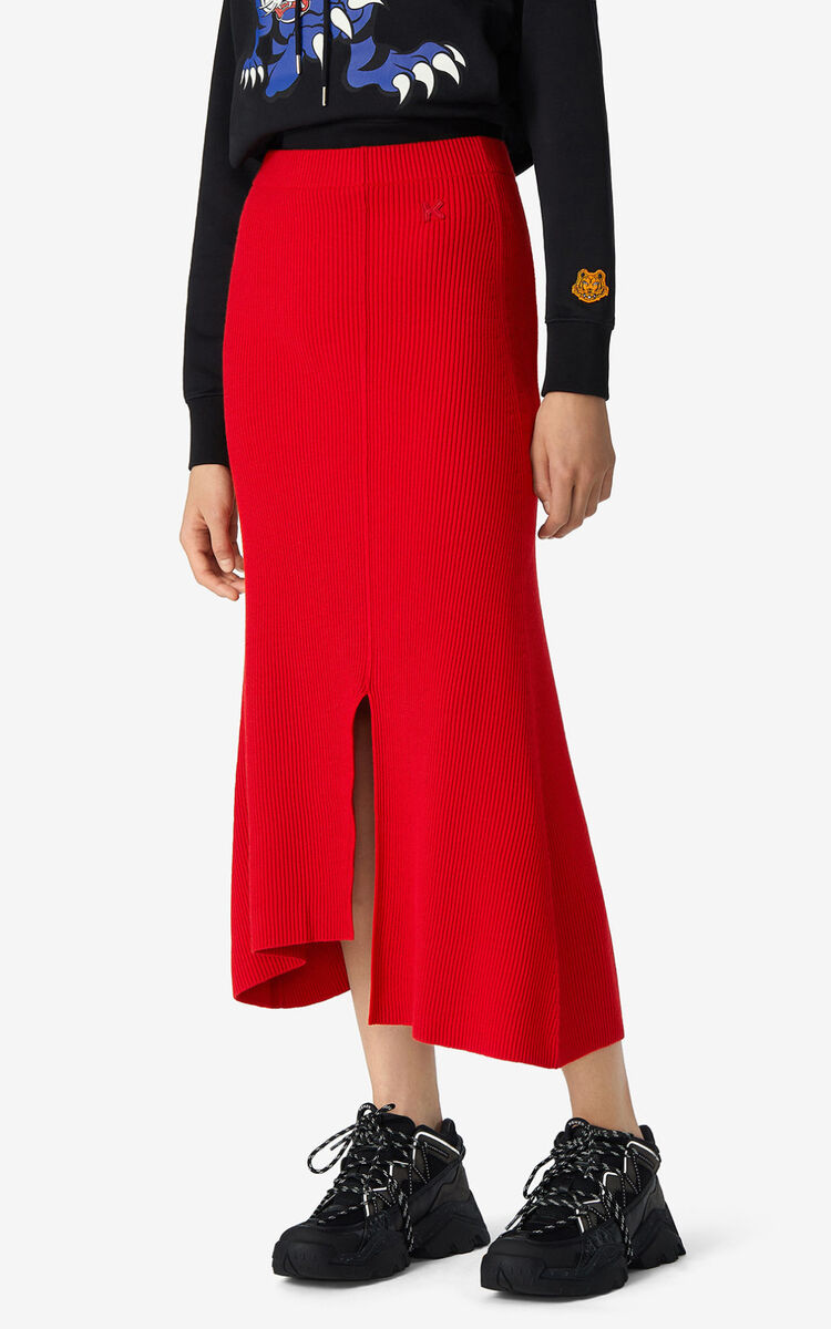 MEDIUM RED Asymmetric midi skirt for women KENZO