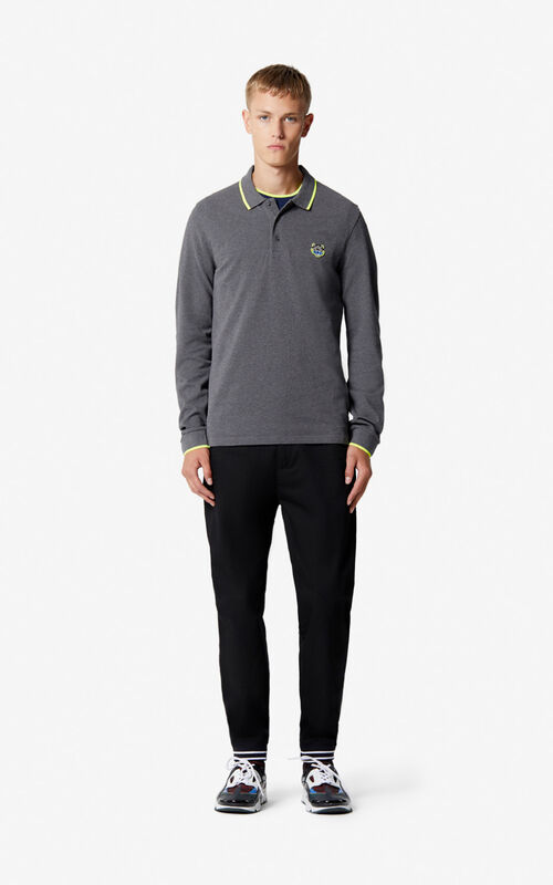 STONE GREY Long sleeve Tiger polo shirt  for men KENZO