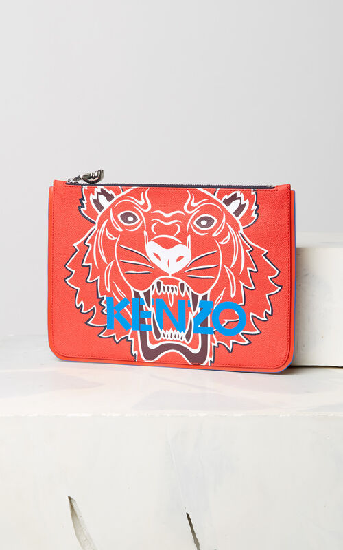 MEDIUM RED A4 Tiger clutch for unisex KENZO