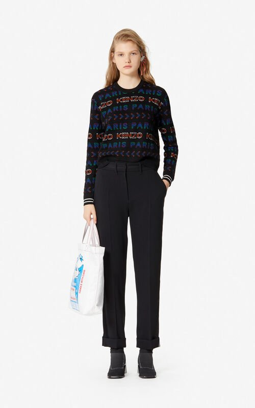 BLACK Crepe trousers with cuffs for women KENZO