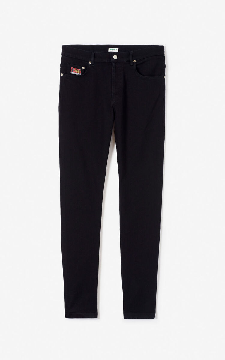 BLACK 'Bamboo Tiger' jeans for women KENZO