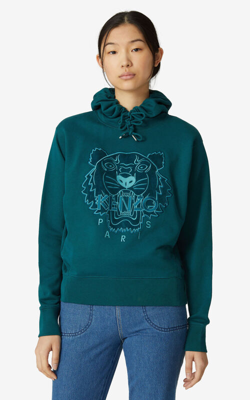 DUCK BLUE Tiger hoodie sweatshirt for women KENZO