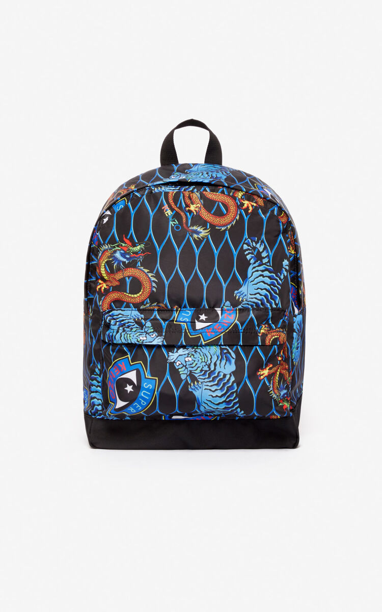 BLACK Multi-icon backpack for men KENZO