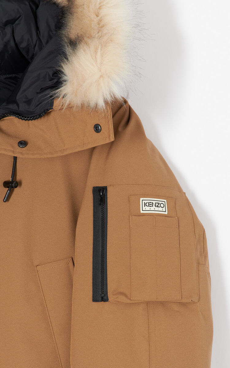 DARK CAMEL Long parka for men KENZO