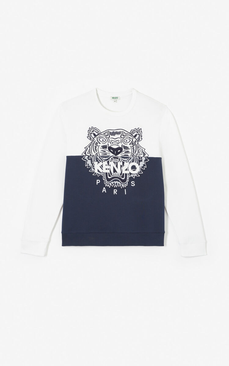 MIDNIGHT BLUE 'Colorblock Tiger' sweatshirt for men KENZO