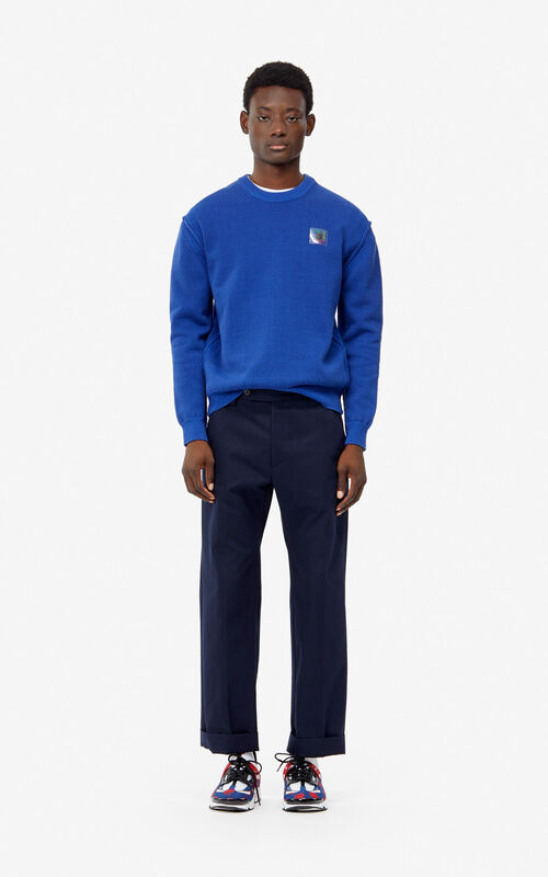 FRENCH BLUE 'Square Logo' jumper for men KENZO
