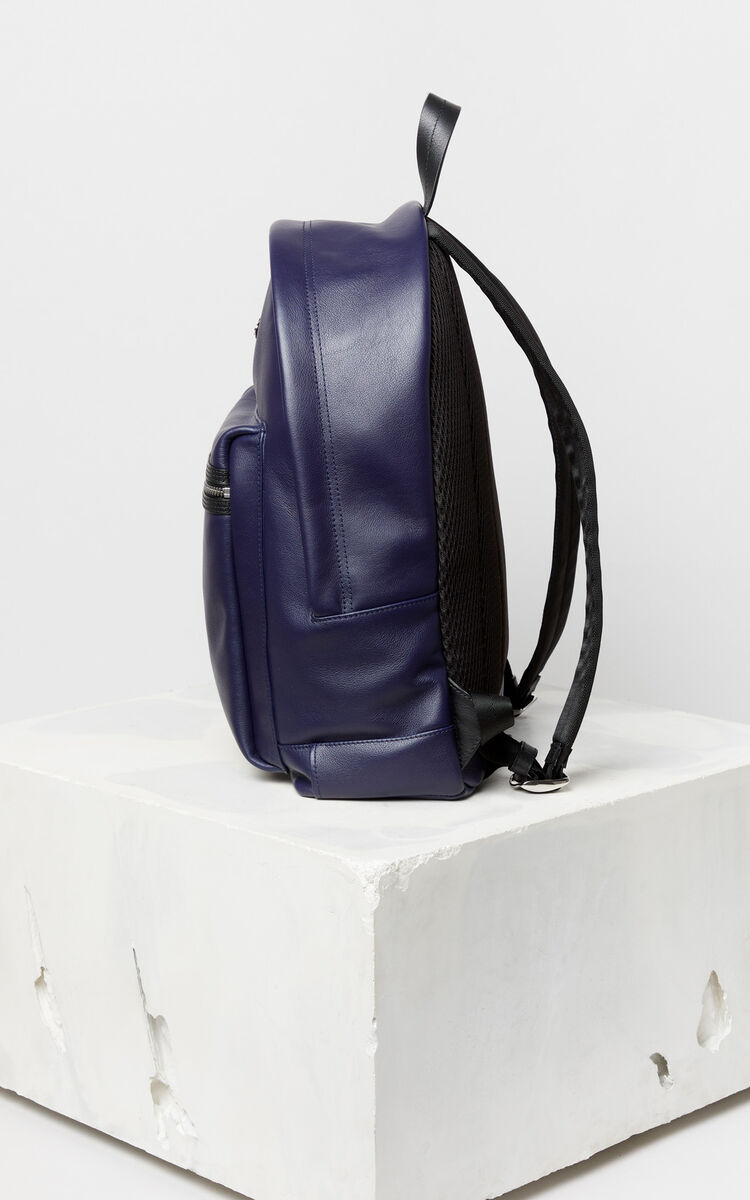 NAVY BLUE 'Tiger Head' leather backpack 'Go Tigers Capsule' for unisex KENZO