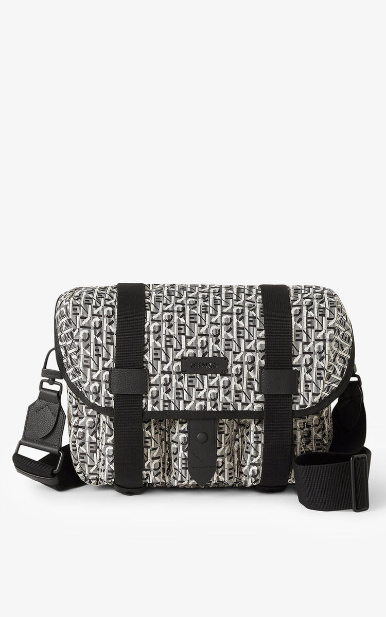 MISTY GREY Courier small jacquard messenger bag for unisex KENZO