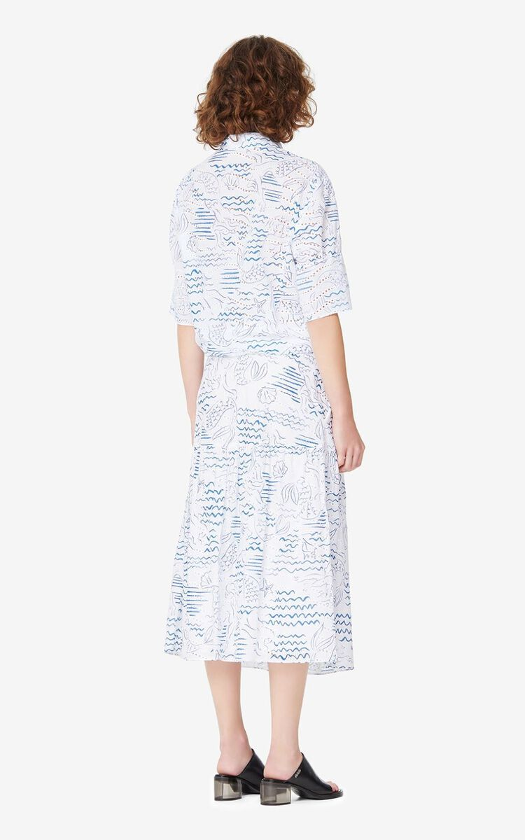 DUCK BLUE 'Wave Mermaid' midi skirt for women KENZO