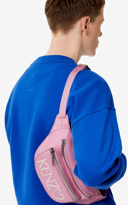 PASTEL PINK 'I ❤ KENZO Capsule' KENZO logo leather bumbag for men