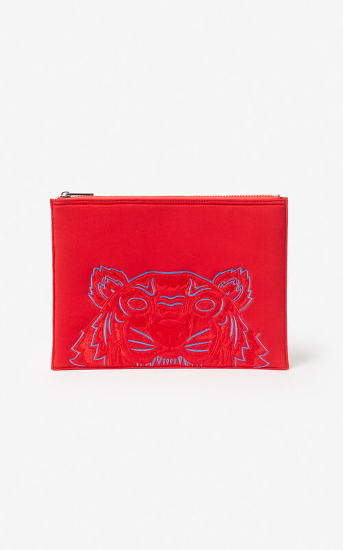 MEDIUM RED Tiger neoprene clutch for unisex KENZO