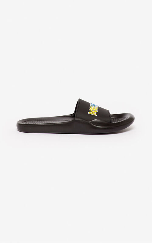 BLACK 'Wetsuit' pool mules for unisex KENZO